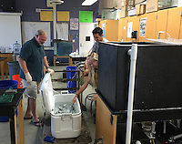 San Diego CA, USA.  7th, December 2015:  Mission Bay High School Biology Teacher, Steve Walters (L) supervises students Ciara Gray and Matt Warner as they transfer fish from the tank in which they have been raising them into a cooler before releasing them into Mission Bay.  The school is one of the first schools in the state to participate in the Seabass in the Classroom Project, which is a collaboration between Hubbs-Sea World Research Institute and the California Department of Fish and Game.