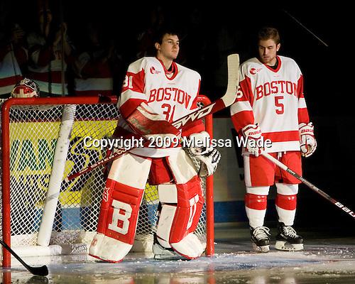 Kieran Millan (BU - 31), David Warsofsky (BU - 5) - The University of Notre Dame Fighting Irish defeated the Boston University Terriers 3-0 on Tuesday, October 20, 2009, at Agganis Arena in Boston, Massachusetts.