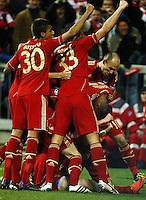 FUSSBALL: Champions League, Halbfinale, Hinspiel, FC Bayern Muenchen - Real Madrid, Muenchen, 17.04.2012.Jubel von Bayern.© pixathlon