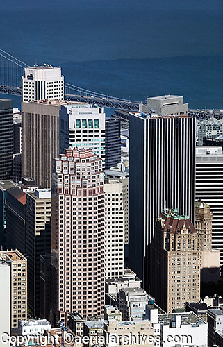 aerial photograph 333 Bush Street, 101 Montgomery Street, 44 Montomgery Street skyscrapers San Francisco