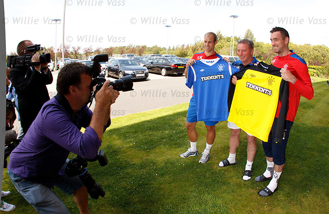 Ally McCoist with Steven Whittaker and Allan McGregor as they both re-sign long term deals with Rangers