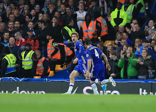 May 8th 2017, Stamford Bridge, Chelsea, London England; EPL Premier League football, Chelsea FC versus Middlesbrough; Marco Alonso of Chelsea celebrates with Cesc Fabregas of Chelsea after scoring his teams 2nd goal in the 33rd minute to make it 2-0