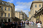Crowded pedestrianised area, Stall Street, city centre of Bath, Somerset, England, UK outside the Pump Rooms