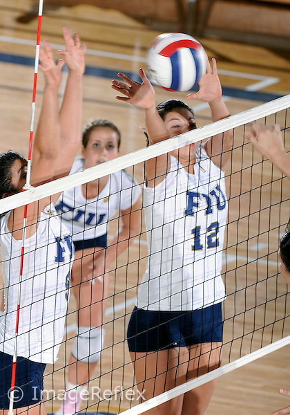 Florida International University women's volleyball player Sabrina Gonzalez (12) plays against the University of Arkansas at Little Rock.  FIU won the match 3-2 on October 23, 2009 at Miami, Florida. .