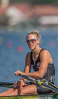Rio de Janeiro. BRAZIL.   NZL W1X. Emma TWIGG, at the start of her heat at the, 2016 Olympic Rowing Regatta. Lagoa Stadium,<br /> Copacabana,  &ldquo;Olympic Summer Games&rdquo;<br /> Rodrigo de Freitas Lagoon, Lagoa.   Saturday  06/08/2016 <br /> <br /> [Mandatory Credit; Peter SPURRIER/Intersport Images]