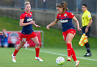 Boyds, MD - Saturday May 07, 2016: Washington Spirit midfielder Estefania Banini (10) and  midfielder Joanna Lohman (15) during a regular season National Women's Soccer League (NWSL) match at Maureen Hendricks Field, Maryland SoccerPlex. Washington Spirit tied the Portland Thorns 0-0.