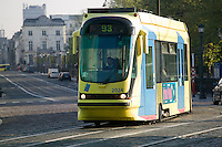 Bombardier T2000 series low floor tram car 2024 works on route 93 in Brussels, Belgium