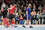 Mannheim, Germany, January 18: During the 1. Bundesliga Herren Hallensaison 2014/15 Sued hockey match between Mannheimer HC (blue) and TSV Mannheim (red) on January 18, 2015 at Irma-Roechling-Halle in Mannheim, Germany. Final score 4-6 (4-4). (Photo by Dirk Markgraf / www.265-images.com) *** Local caption *** (L-R) Andreas Spaeck #1 of Mannheimer HC, Paul Kaufmann #11 of TSV Mannheim,Philip Schlageter #40 of TSV Mannheim, Niklas Meinert #33 of Mannheimer HC