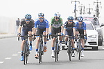 The breakaway group featuring Charles Planet (FRA) Novo-Nordisk in the Black Jersey today, Green Jersey Stepan Kuriyanov (RUS) Gazprom&ndash;Rusvelo and team mates Anton Vorobyev and Sergey Shilov and Fabio Calabria (AUS) Novo-Nordisk in action during Stage 5 of the 2019 UAE Tour, running 181km form Sharjah to Khor Fakkan, Dubai, United Arab Emirates. 28th February 2019.<br /> Picture: LaPresse/Fabio Ferrari | Cyclefile<br /> <br /> <br /> All photos usage must carry mandatory copyright credit (&copy; Cyclefile | LaPresse/Fabio Ferrari)