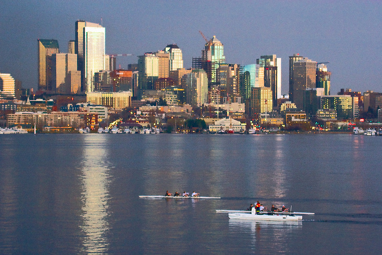 Seattle, skyline, Lake Union, rowers, rowing, at sunset, storm clouds, from Gasworks Park, Washington State, Pacific Northwest,