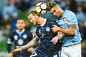 3rd November 2017, Melbourne Rectangular Stadium, Melbourne, Australia; A-League football, Melbourne City FC versus Sydney FC; David Carney of Sydney FC and Bart Schenkeveld of Melbourne City FC both attempt to header the ball