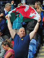 Wales fans inside the stadium<br /> <br /> Kenya Vs Wales - men's placing 5-8 match<br /> <br /> Photographer Chris Vaughan/CameraSport<br /> <br /> 20th Commonwealth Games - Day 4 - Sunday 27th July 2014 - Rugby Sevens - Ibrox Stadium - Glasgow - UK<br /> <br /> © CameraSport - 43 Linden Ave. Countesthorpe. Leicester. England. LE8 5PG - Tel: +44 (0) 116 277 4147 - admin@camerasport.com - www.camerasport.com