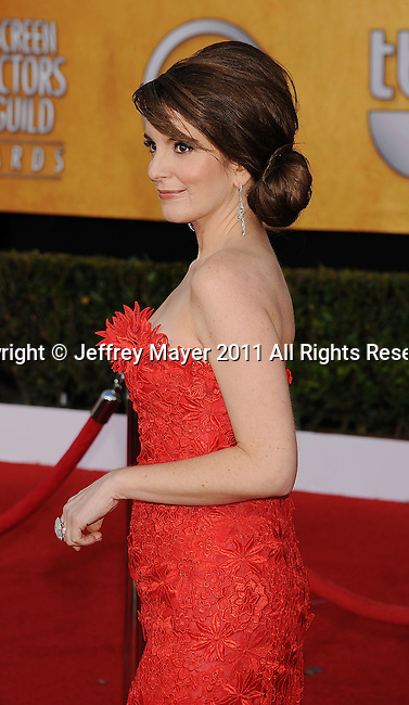 LOS ANGELES, CA - January 30: Tina Fey arrives at the 17th Annual Screen Actors Guild Awards held at The Shrine Auditorium on January 30, 2011 in Los Angeles, California.