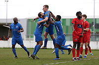 Jack Hayes of Barking scores the first goal for his team and celebrates with his team mates during Barking vs South Park, BetVictor League South Central Division Football at Mayesbrook Park on 7th March 2020