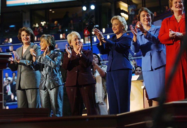 7/26/04.2004 DEMOCRATIC NATIONAL CONVENTION--Several Democratic women senators on stage during a segment honoring them during the convention. Left to right: Dianne Feinstein, Calif., Barbara Boxer, Calif., Patty Murray, Wash., Mary Landrieu, La., Blanche Lincoln, Wash., and Debbie Stabenow, Mich..CONGRESSIONAL QUARTERLY PHOTO BY SCOTT J. FERRELL
