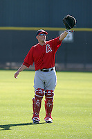 Bobby Wilson #46 of the Los Angeles Angels participates in fielding practice during spring training workouts at the Angels complex on February 16, 2011  in Tempe, Arizona. .Photo by:  Bill Mitchell/Four Seam Images.