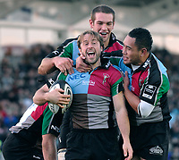 Twickenham. GREAT BRITAIN, Quins, Andy GOMARSALL, celebrates scoring a ssecond half try, during the, Guinness Premiership game between, NEC Harlequins and Northamption Saints, on Sat., 04/11/2006, played at the Twickenham Stoop, England. Photo, Peter Spurrier/Intersport-images].....