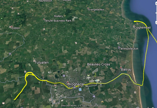 "The route taken from far inland on the Boyne to the ancient ""forgotten"" harbour of St Denis west of Port Oriel"