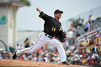 Pittsburgh Pirates pitcher Ryan Vogelsong (14) delivers a pitch during a Spring Training game against the Toronto Blue Jays  on March 3, 2016 at McKechnie Field in Bradenton, Florida.  Toronto defeated Pittsburgh 10-8.  (Mike Janes/Four Seam Images)