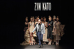 Designer Zin Kato and models at the Zin Kato 2016 spring summer collection during the Mercedes-Benz Fashion Week Tokyo on October 17th, 2015 in Tokyo, Japan. (Photo by Michael Steinebach/AFLO)