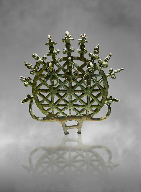 """Bronze Age Hattian ceremonial standard known as """"Sun Disks"""" from Bronze Age grave BM (2500 BC to 2250 BC), possibly a Royal grave - Alacahoyuk - Museum of Anatolian Civilisations, Ankara, Turkey"""