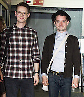 NEW YORK, NY-October 21:Sam Barnett & Elijah Wood at AOL BUILD to talk about new BBC series Dirk Gently's Holistic Detective Agency in New York.October 21, 2016. Credit:RW/MediaPunch