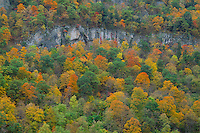 Cliff above South Branch Potomac River<br /> Spruce Knob-Seneca Rocks NRA<br /> Monongahela National Forest<br /> Allegheny Mountains,  West Virginia