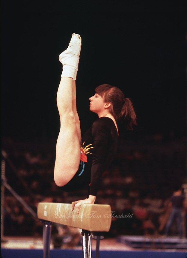 Feb 10, 1981; Los Angeles, CA, USA;  Marcia Frederick of USA.performs on balance beam at 1981 SCATS Invitational. (©) Copyright 1981 Tom Theobald