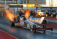 Jan 25, 2009; Chandler, AZ, USA; NHRA top fuel dragster driver Larry Dixon launches off the starting line during testing at the National Time Trials at Firebird International Raceway. Mandatory Credit: Mark J. Rebilas-