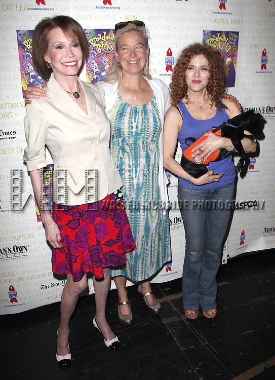 Mary Tyler Moore, Nell Newman & Bernadette Peters.Backstage at Broadway Barks Lucky 13th Annual Adopt-a-thon  in New York City.