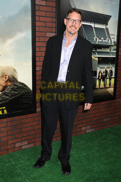"""Matthew Lillard.""""Trouble With The Curve"""" Los Angeles Premiere held at the Regency Village Theatre, Westwood, California, USA..September 19th, 2012.full length purple shirt black suit hand in pocket glasses goatee facial hair .CAP/ADM/BP.©Byron Purvis/AdMedia/Capital Pictures."""