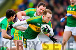 Darran O?Sullivan, Kerry, in action against Paddy McGrath, Donegal, and Michael Murphy, Donegal, in the national Football League, Division 1, Round 4, at Austin Stack Park, Tralee on Sunday.