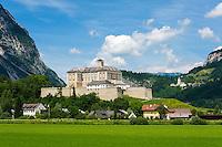 Austria, Styria, Trautenfels: Castle-Museum Trautenfels, at background village Puergg-Trautenfels, since 2015 new comunity name Stainach-Puergg | Oesterreich, Steiermark, Trautenfels: Schloss-Museum Trautenfels, im Hintergrund die Ortschaft Puergg-Trautenfels, ab Januar 2015 ist der neue Gemeindename Stainach-Puergg