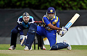 Cricket - ODI Summer Tri-Series - Scotland V Sri Lanka at Grange CC - Edinburgh - Sri Lanka batsman Mahela Jayawardene reverse sweeps the ball away in front of Scotland keeper Gregor Maiden - only to be caught at point - Picture by Donald MacLeod - 13.07.11 - 07702 319 738 - www.donald-macleod.com