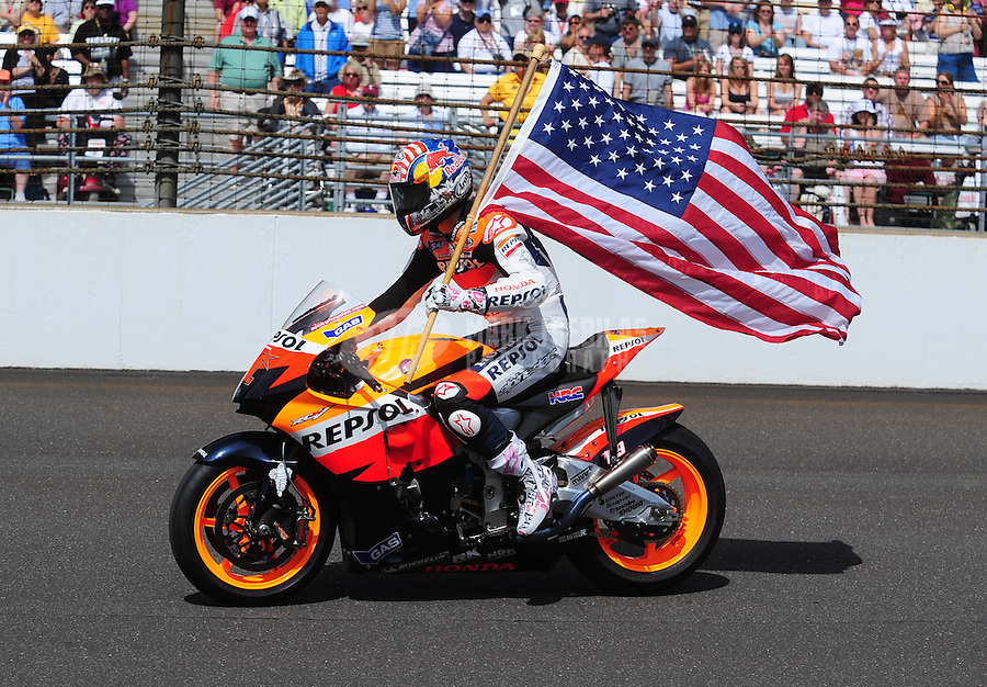 May 25, 2008; Indianapolis, IN, USA; Nicky Hayden does a lap around the track prior to the 92nd running of the Indianapolis 500 at the Indianapolis Motor Speedway. Mandatory Credit: Mark J. Rebilas-