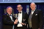 Tom Kavanagh, Newbridge Musical Society , winner of the Best Stage Management Award for the production of 'Sweeney Todd' receiving the trophy from on  left, Colm Moules, President, AIMS and Seamus Power, Vice-President at the Association of Irish Musical Societies annual awards in the INEC, KIllarney at the weekend.<br /> Photo: Don MacMonagle -macmonagle.com<br /> <br /> <br /> <br /> repro free photo from AIMS<br /> Further Information:<br /> Kate Furlong AIMS PRO kate.furlong84@gmail.com