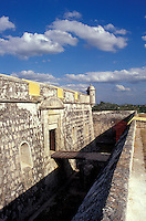 Drawbridge and moat at Fuerte San Jose el Alto, a restored Spanish Colonial fort near the city of Campeche, Mexico