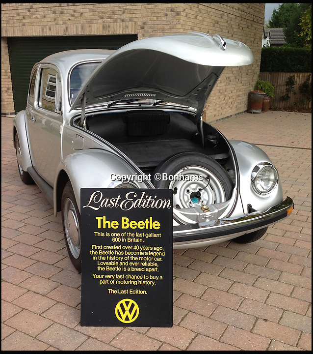 BNPS.co.uk (01202 558833)<br /> Pic: Bonhams/BNPS<br /> <br /> One of the last Volkswagen Beetles ever made that was once owned by Formula One mogul Bernie Ecclestone has emerged for sale for &pound;16,000 with just 63 miles on the clock.<br /> <br /> The iconic silver motor was one of just 300 'last edition' models sold in 1978 to mark the end of production in Europe - and experts say it is the finest of the limited run in existence.<br /> <br /> The motor was among the 50 rare cars sold off by the F1 supremo Bernie Ecclestone in 2007 and it was snapped up by late British entrepreneur Jimi Heselden, owner of Segway.<br /> <br /> This one is now tipped to fetch &pound;16,000 when it goes under the hammer at Bonhams auctioneers on behalf of a private collector.