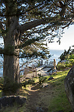 USA, California, Big Sur, Esalen, a woman walks down stairs leading to the deck below the Murphy House, the Esalen Institute