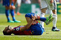 Luka Milivojevic of Crystal Palace is felled during the EPL - Premier League match between Crystal Palace and West Bromwich Albion at Selhurst Park, London, England on 13 May 2018. Photo by Carlton Myrie / PRiME Media Images.