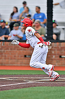 Johnson City Cardinals first baseman Carlos Rodriguez (12) swings at a pitch during a game against the Bristol Pirates at TVA Credit Union Ballpark on June 23, 2017 in Johnson City, Tennessee. The Pirates defeated the Cardinals 4-3. (Tony Farlow/Four Seam Images)