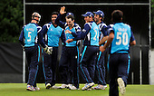 CB40 Cricket - Scottish Saltires V Warwickshire Bears at Grange CC - Edinburgh - jubilation in the Saltires team as another Bears wicket is taken - Picture by Donald MacLeod - 18.07.11 - 07702 319 738 - www.donald-macleod.com