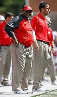 Ohio State defensive line coach Larry Johnson, left, stands beside defensive coordinator Luke Fickell on the sideline during the Buckeyes' 52-24 win over the Maryland Terrapins in the NCAA football game at Byrd Stadium in College Park, Maryland on Oct. 4, 2014. (Adam Cairns / The Columbus Dispatch)