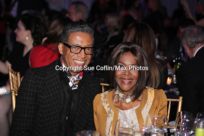 B Michael (fashion designer) poses with Cicely Tyson (film, tv and stage actress and was on The Guiding Lignt) who is honored at The 11th Annual Skating with the Stars Gala - a benefit gala for Figure Skating in Harlem on April 11, 2016 on Park Avenue in New York City, New York with many Olympic Skaters and Celebrities. (Photo by Sue Coflin/Max Photos)