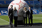 MADRID, Spain (09/03/10).- The Finale Madrid, match ball for the 2010 UEFA Champions League final, has been launched by adidas with a helping hand from former Spain players Emilio Butragueno and Fernando Hierro at Santiago Berbabeu Stadium...Photo: Raul Perez / ALFAQUI.