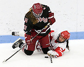 Kalley Armstrong (Harvard - 13), Kayla Tutino (BU - 8) - The Boston University Terriers defeated the visiting Harvard University Crimson 2-1 on Sunday, November 18, 2012, at Walter Brown Arena in Boston, Massachusetts.