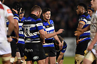 Freddie Burns of Bath Rugby speaks to his team-mates during a break in play. Anglo-Welsh Cup match, between Bath Rugby and Leicester Tigers on November 10, 2017 at the Recreation Ground in Bath, England. Photo by: Patrick Khachfe / Onside Images