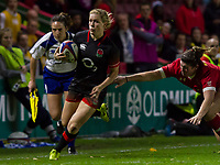 Danielle waterman gets past the Canadian defence to score a try, England Women v Canada in an Autumn International match at The Stoop, Twickenham, London, England, on 21st November 2017 Final score 49-12