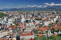 Elevated view of Ljubljana, Slovenia from Ljubljana Castle (Ljubljanski grad)