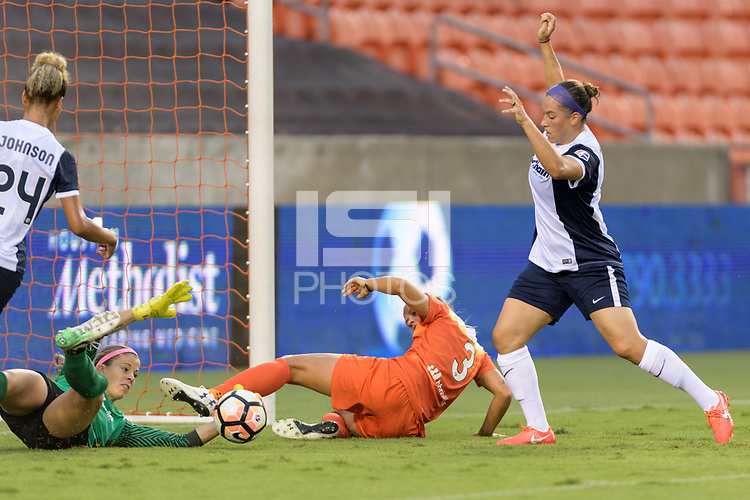 Houston, TX - Saturday July 15, 2017: Stephanie Labbé and Rachel Daly during a regular season National Women's Soccer League (NWSL) match between the Houston Dash and the Washington Spirit at BBVA Compass Stadium.